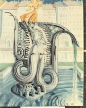 """Monument for the Mermaid of Warsaw (detail),"" 1958, a conté and ink on paper by Stanislav Szukalski. On view at the Begovich Gallery, Cal State Fullerton, Feb. 2-March 7."