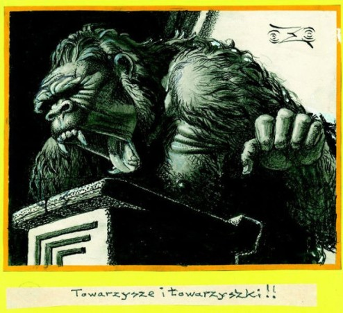 """Screaming Gorilla,"" a circa 1965 pen and ink on paper by Stanislav Szukalski. On view at Cal State Fullerton's Begovich Gallery through March 7."