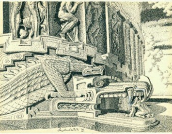 """Architectural Entrance,"" a 1978 pen and ink on paper by Stanislav Szukalski. On view at Cal State Fullerton's Begovich Gallery through March 7."